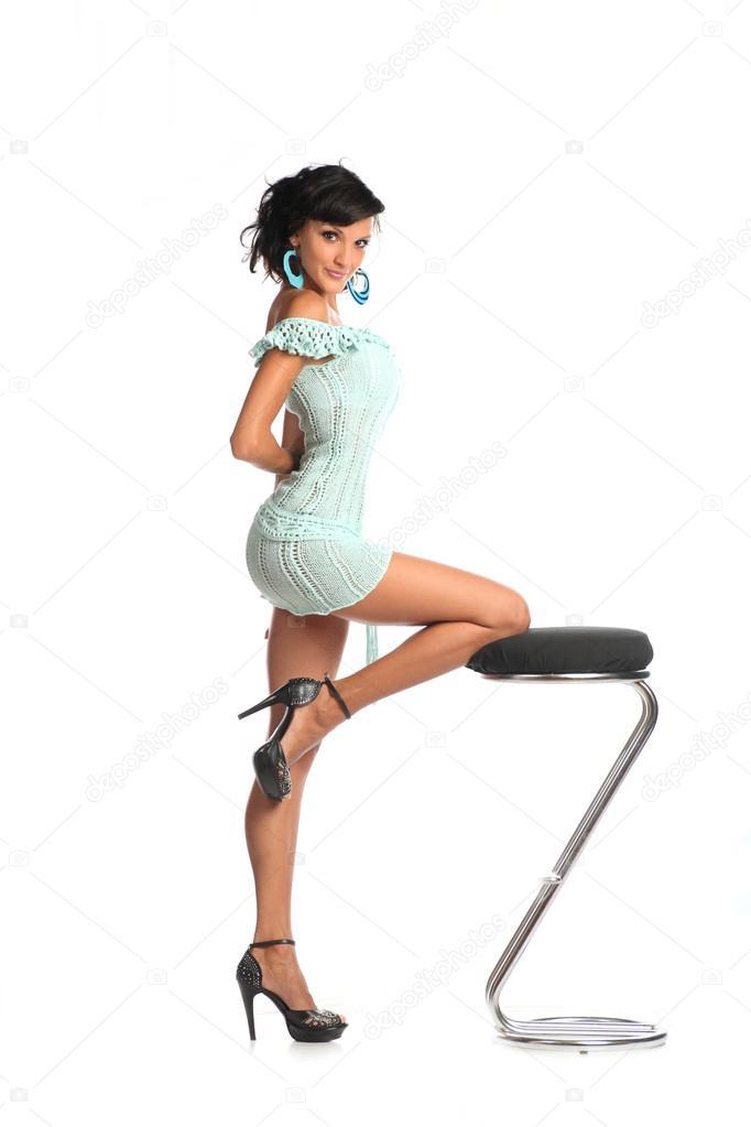 Woman poses at studio on bar chair Stock Photo 169 mettus  : depositphotos49258295 stock photo woman poses at studio on from depositphotos.com size 682 x 1023 jpeg 41kB