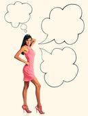 Donna con bolle di discorso — Foto Stock