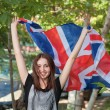 Woman with UK flag — Stock Photo #51730365