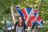 Woman with UK flag — Foto de Stock