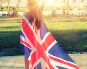 Woman with UK flag — Stock Photo