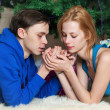 Young couple celebrates Christmas — Stock Photo