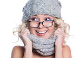 Woman in a hat, scarf and glasses — Foto Stock