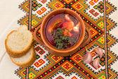 Ukrainian soup and bread — Stock Photo