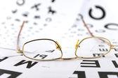 Eyeglasses on the ophthalmologic scales — Stock Photo