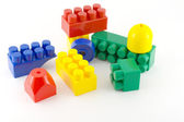 Color components of child's meccano over white — Stock Photo