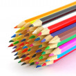 Stock Photo: Multi color pencils over white