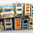 Interface plug-and-sockets of computer main boards - ストック写真