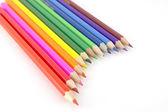 Multi color pencils over white — Stock Photo