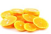 Slices of orange tangerine over white — Stock Photo