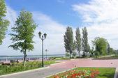 Volga Nehri iskele üzerinde göster — Stok fotoğraf