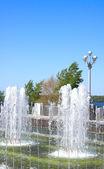 Fountain on quay of river Volga — Stock Photo