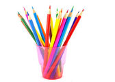 Color pencils in the pink prop — Stock Photo