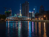 "Shanghai, China: ""Night view bridge and the river with a lot of — Stock Photo"