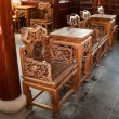 Stock Photo: Carved wooden chairs and table