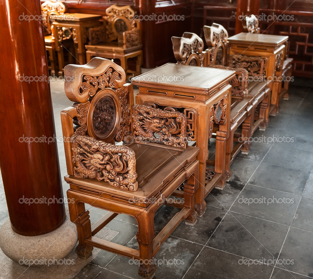 Carved wooden chairs and table stock photo profstocker for Wood in chinese