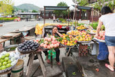 Chinese woman sells fruit — Stockfoto