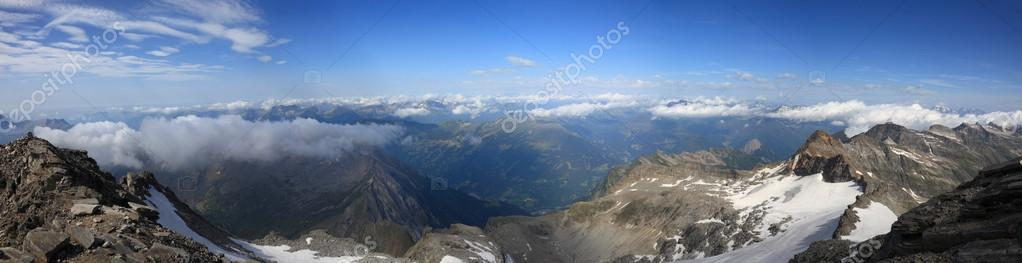 Panorama of snow-capped peaks of the swiss alps. view from the top ofthe mount Rheinwaldhorn  Stock Photo #16048699
