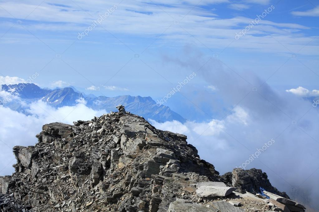 View from the top of the mount Rheinwaldhorn, swiss alps — Stock Photo #16049681