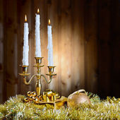 Candles and New Year's toys — Stock Photo