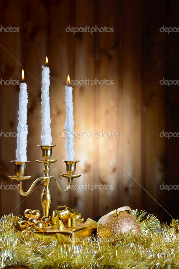 Candles and New Year's toys  — Stock Photo #13379735