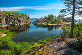 Rocky islands of Ladoga lake — Stock Photo