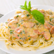 Pasta with mushrooms, smoked sausage and cream sauce with basil - Stock Photo