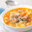 Stock Photo: Fish soup with potato and rice