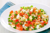 Fresh vegetable salad with white beans — Stock Photo
