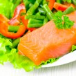 Fresh smoked salmon fillet with vegetables — Stock Photo #13630953