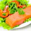 Fresh smoked salmon fillet with vegetables — Stock Photo