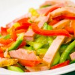 Fresh vegetables salad with ham — Stock Photo