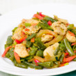 Fresh Green Beans Cooked with chicken and vegetables — Stock Photo