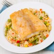 Royalty-Free Stock Photo: Fish fillet with rice and vegetables
