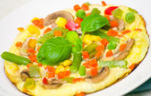 Omelet with vegetables and mushrooms — Stock Photo