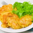 Pieces of fish fillets in batter with salad — Stock Photo #21207715