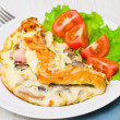 Omelet with bacon and mushrooms - Stock Photo