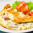 Omelet with bacon and mushrooms — Stock Photo