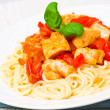 Chicken Breast with spaghetti and vegetables — Stock Photo