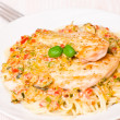 Chicken Breast with spaghetti and vegetable sauce — Stock Photo