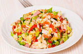 Fresh salad with chicken, ham and vegetables — Stock Photo