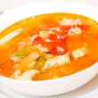 Chicken soup with rice and vegetables — Stock Photo