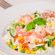 Fresh salad with shrimps and vegetables — Stock Photo