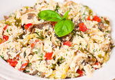 Salad with chicken, mushrooms, eggs, cheese, vegetables — Stock Photo