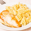 Chicken breast with Fusilli pasta — Stock Photo