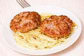 Burger with pasta — Stock Photo