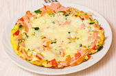 Eggs with vegetables, ham and cheese — Foto de Stock