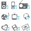 Multimedia Icons — Vector de stock #14140859