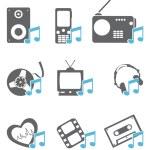 ikony multimedialne — Wektor stockowy