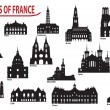 Silhouettes of cities in France — Stock Vector